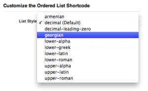 Shortcode List Styles Numbers