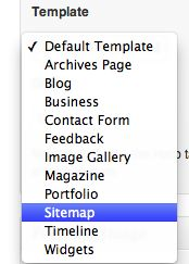 Just choose the Sitemap from the dropdown in a page.