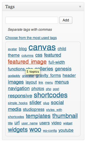 Tags can be used more liberally and sprinkled on your posts.
