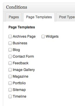 Use the Page Templates conditional filters to use the themes page templates (e.g. Sitemap, Feedback, Contact, etc.).
