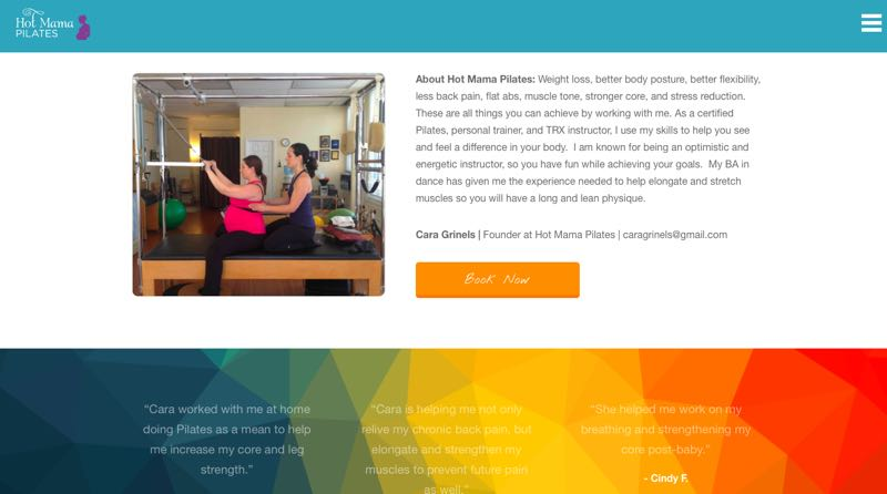 Clean and beautiful new site for Hot Mama Pilates